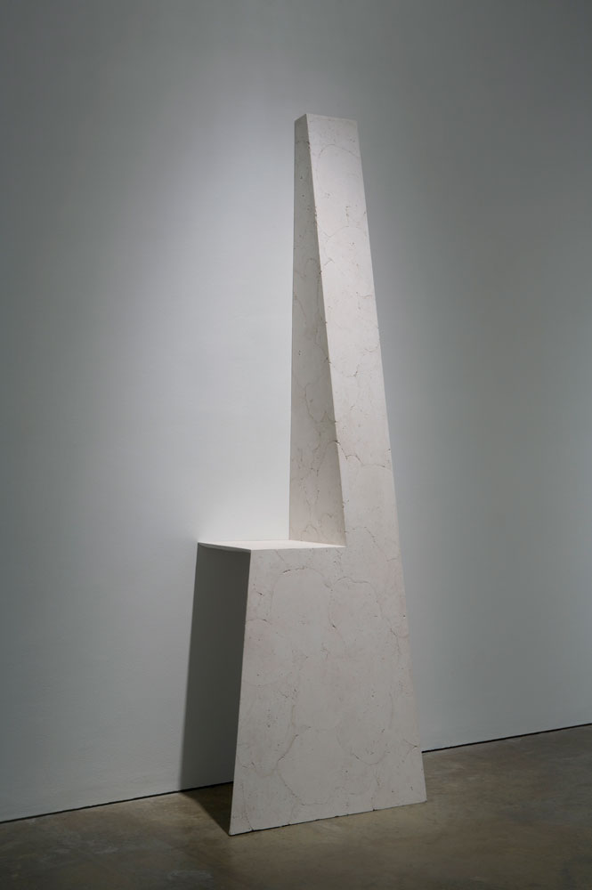 Erin Shirreff, installation view: <em>Untitled</em>, 2010, ash, hydrocal, armature, 243.8 cm x 76.2 cm x 53.3 cm, Institute of Contemporary Art, Philadelphia. Photo by Aaron Igler.