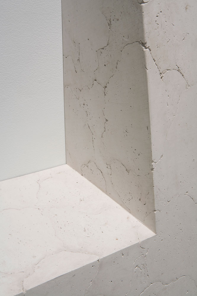 Erin Shirreff, installation view: <em>Untitled</em>, detail, 2010, ash, hydrocal, armature, 243.8 cm x 76.2 cm x 53.3 cm, Institute of Contemporary Art, Philadelphia. Photo by Aaron Igler.