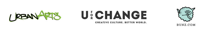 Urban Arts logo, U for Change logo, Bunz.com logo