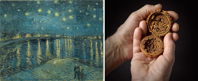L: Vincent Van Gogh, The Starry Night over the Rhone at Arles, 1888 R: Netherlandish, Prayer Bead (open view), 1500 – 1530