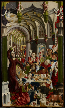 The Expulsion of the Money-Changers  c. 1480 - 1500, Attributed to: Master of the Kress Epiphany