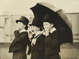 Unknown, Supporting the team: Well-dressed English lads yelling support for their team, 1930s