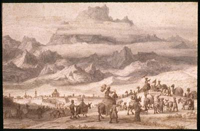Noah's Ark on Mount Ararat, a Camel Train outside a City in the Foreground