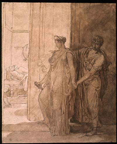 Clytemnestra hesitates before killing the sleeping Agamemnon while her accomplice Egistus urges her on