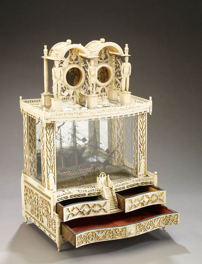 Double Watch Stand with British or French Two-decker 74 Gun Warship, 1795-1815