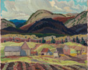 Franklin Carmichael (Canadian, 1890 – 1945), <em>Farm Buildings, La Cloche</em>, 1932, oil on laminated paperboard. Gift from the J.S. McLean Collection, by Canada Packers Inc., Toronto, 1990.