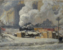 J.E.H. MacDonald (Canadian, 1873 – 1932), <em>Tracks and Traffic</em>, 1912, oil on canvas.Gift of Walter C. Laidlaw, Toronto, 1937.