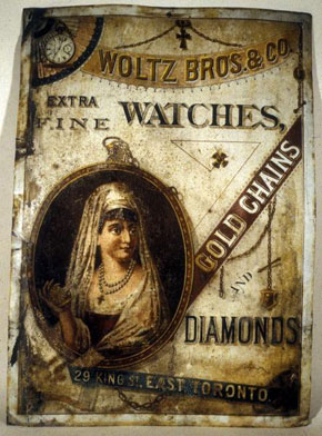 Tin advertising sign, c. 1880s