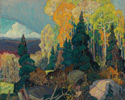 Franklin Carmichael (Canadian, 1890 – 1945), <em>Autumn Hillside</em>, 1920, oil on canvas.  Gift from the J.S. McLean Collection, Toronto, 1969; donated by the Ontario Heritage Foundation, 1988.