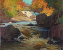 John William Beatty (Canadian, 1869 - 1941), <em>Brooks Falls, Parry Sound</em>, 1932, oil on canvas. Collection of the Toronto District School Board Acquired by Parkdale Collegiate Institute.