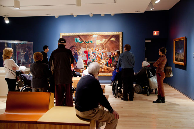 Mental Health Organization group visiting in gallery
