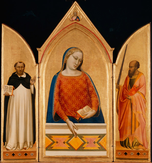 Bernardo Daddi, The Virgin Mary with Saints Thomas Aquinas and Paul